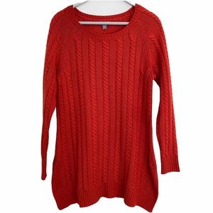 J Jill orange cable knit sweater tunic pullover XS